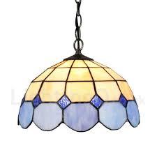 diameter 30cm 12 inch handmade rustic retro tiffany pendant light mesh pattern blue and