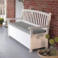porch storage bench. Plain Bench CurvedBack Outdoor Acacia Wood Patio Storage Bench  White Throughout Porch M