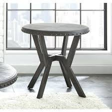 industrial round end table grey metal style by living coffee diy