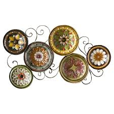 on framed plates wall art with tuscan plate collection floral metal wall art