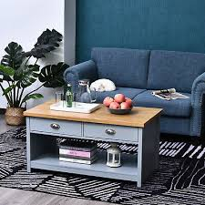 coffee table w 2 drawers open display