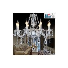 crystal chandelier 8 lights arms candle pendant lamp with lampshade