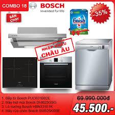 Combo 18: Bếp từ + máy hút mùi + lò nướng + máy rửa chén Bosch