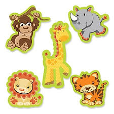 Funfari - Fun Safari Jungle - Shaped Party Paper Cut-Outs - 24 ct