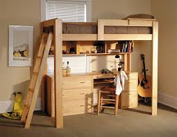 image of image of wood loft bed with desk plans