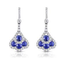 uneek round blue sapphire and diamond chandelier style drop earrings in 18k white gold