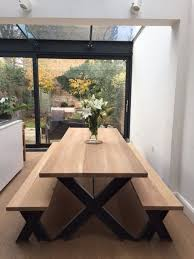 vine steel and oak dining table and bench set with powder coated frame 6 seater manufactured in our own work using 44mm oak carefully prepared