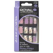 Royal Květinové Mix Umělé Nehty Fialové Růžové A Zlaté Rosy Posy Glue On Nail Tips False Nails Sada 24ks A Lepidlo