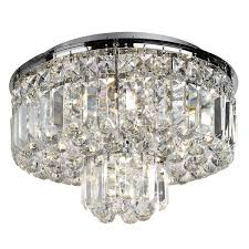 elegant flush ceiling light with a contemporary design featuring a round chrome metal frame from which two concentric tiers of rectangular crystal prisms