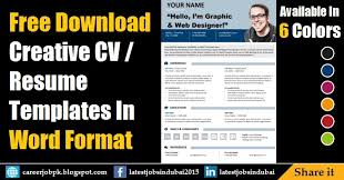 Fre Cv Templates Free Download Editable Resume Cv Template In Ms Word Format