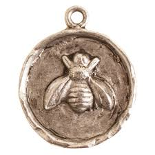 charm small round bee antique silver