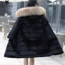 100cm 100 real rabbit fur coat with big rac fur trim hood shearing rabbit fur jackets warm thicken long jackets and coats with 40 0 piece on