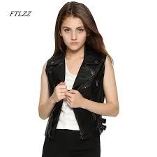 ftlzz 2017 plus size women coat leather vest jacket womens fashion vests womens cool slim vest coats casual veste femme