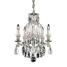 renaissance 5 light crystal chandelier in antique silver with olivine and smoke rock crystal color