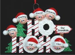 Ho Ho Ho Family: 6 Grandkids Christmas Ornament