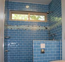 Blue Tiled Bathrooms Great Blue Themes Walk In Shower Decor With Blue Subway Tile Added
