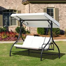 garden swing chair 3 seater black metal frame white canopy seat patio furniture