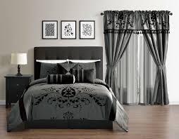 budget wise charcoal grey gray black flocking comforter set