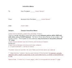 Interoffice Memo Template Sample Office Inter Correspondence Format