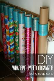 diy wrapping paper organizer made from soup cans and s wood