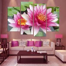 Pink Lotus Size Chart Us 10 48 49 Off 4 Panel Wall Art Pictures Botanical Red Feng Shui Pink Lotus Oil Painting On Canvas The Picture For Living Room Decoration In