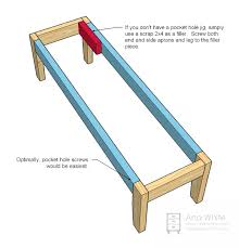 The goal is a standard 18 high bench. Once legs are taperend, attach legs  to the end aprons with screws and glue.