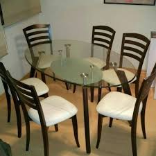 oval dining table with erfly leaf glass top and 6 chairs set
