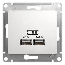 <b>Розетка</b> GLOSSA <b>USB</b> 5В/2100мА 2х5В/1050мА механизм белый ...