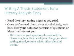 Write Literary Analysis Thesis