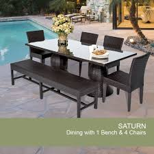 espresso saturn rectangular outdoor patio dining table with 4 chairs and 1 bench design furnishings