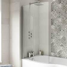1400 curved shower bath screen