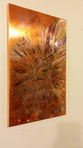 flame painted copper wall art copper