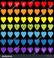 Love Text Rainbow Heart Set Gay Stock Vector 562013425 Shutterstock