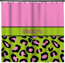 pink lime green leopard shower curtain personalized