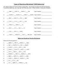 balancing chemical equations worksheets answers types of reactions worksheet printable medium size