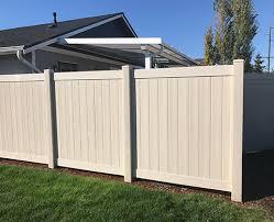 Image White Mirage Mahogany High Horizontal Vinyl Mirage Mahogany Privacy Tan Duragrain Privacy Patriot Fence Company Seattle Vinyl Fence Seattle Fence Contractors Economy