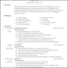 Software Tester Resume Format Resume For Software Testing Resume