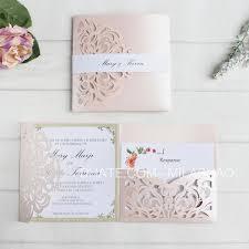 Flesh Pink Wedding Invitations Card Laser Pocket Bridal Marriage Invite Customized Printing Insert Belly Band Rsvp Elegant Wedding Invitations Make