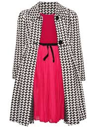 Bonnie Jean Baby Girls Red Dress Black White Check Coat Christmas Outfit 12m 24m