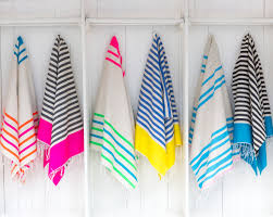 hanging beach towel. Vibrant Stripes With Pops Of Neon In These 100% Cotton Hand-loomed Towels By Sunny Jim. Versatile Too \u2013 You Can Use Them As A Beach Towel, Sarong, Hanging Towel N