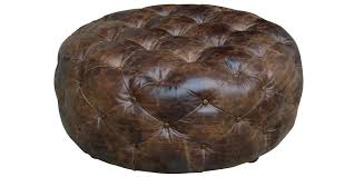 round leather tufted ottoman. Elegant Round Leather Ottoman For Your Living Room Design: Dark Bown Tufted T