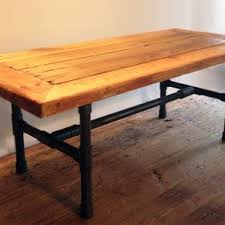 reclaimed wood pipe leg coffee table by ron cramer black iron pipe table