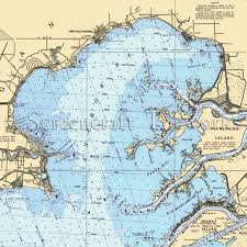 West Galveston Bay Depth Chart Michigan Anchor Bay New Baltimore Nautical Chart Decor