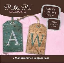 In The Hoop Luggage Tag Designs Monogrammed Cork Luggage Tags By Archer Lisa Cork Fabric
