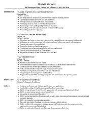 Transcriptionist Resume Samples | Velvet Jobs