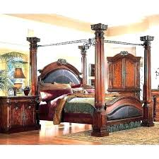 Four Post Bed Frame Queen Size Black 4 Poster Bed 4 Poster Wood Bed ...