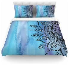 li zamperini blue mandala aqua black featherweight duvet cover queen 88 x88