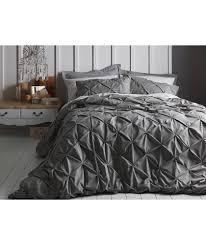 Buy Heart of House Caesar Grey Pintuck Bedding Set - Double at Argos.co.