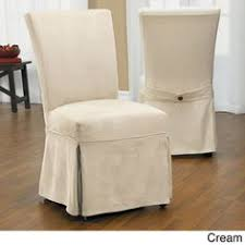 luxury suede chair relaxed fit long dining slipcover with ons in cream as is item