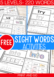 Simple sentences for young learners. 5 Levels Free Print And Go Sight Word Worksheets